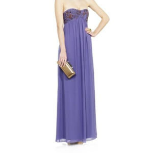 TED BAKER Dress Beaded Gown Purple Strapless NEW